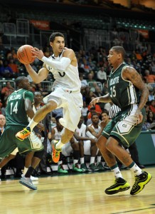 d39744dab9a Miami Hurricanes guard Shane Larkin (0) drives to the basket as Charlotte  49ers forward
