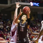 Saint Bonaventure Bonnies Demitrius Conger (11) shoots during the first half against the Temple Owls at the Liacouras Center. (Howard Smith-USA TODAY Sports)