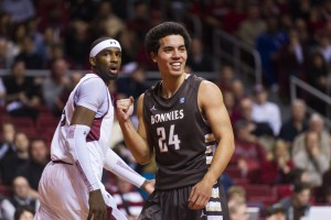 Saint Bonaventure Bonnies guard Matthew Wright (24) celebrates a play during the second half against the Temple Owls at the Liacouras Center. St. Bonaventure defeated Temple 81-78. (Photo by Howard Smith-USA TODAY Sports)