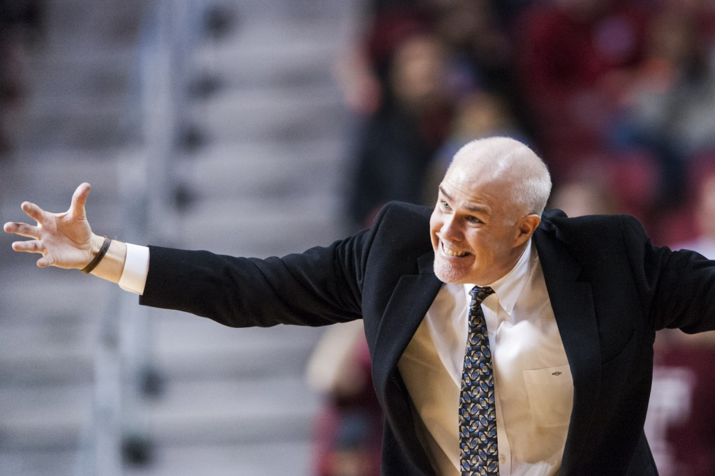 Saint Bonaventure Bonnies head coach during the second half against the Temple Owls at the Liacouras Center. St. Bonaventure defeated Temple 81-78. (Photo by Howard  Smith-USA TODAY Sports)