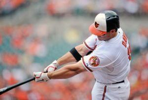 Baltimore Orioles first baseman Chris Davis finished with 37 home runs before the All-Star break tying an American League record set by Reggie Jackson in 1969. (Photo by Joy R. Absalon-USA TODAY Sports)