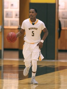 Dykweil Bryan scored 10 and dished out four assists for Monroe. (Photo courtesy of Monroe Community College Athletics)