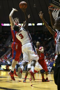Kavanaugh defending the lane in a recent game at Ole Miss. (Photo by Spruce Derden-USA TODAY Sports)