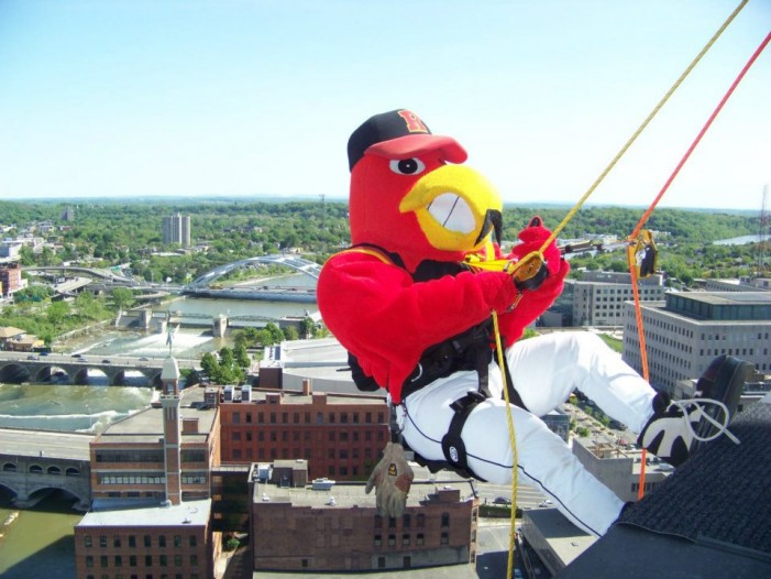 Amerks' Moose and Red Wings' Spikes to Rappel 21 Stories for Scouts