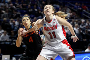 Ally Malott (14) turned in a double-double for UD. (Photo by Matthew O'Haren-USA TODAY Sports)