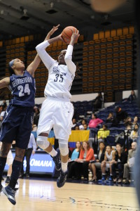 GW's Jonquel Jones continues to pile up the double-doubles. (Photo courtesy of George Washington Athletics)