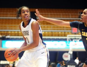 Caira Washington poured in 23 for GW. (Photo by Evan Habeeb-USA TODAY Sports)