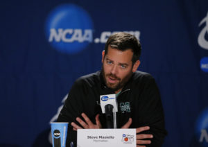 Manhattan's Steve Masiello is not a fan of story lines in the NCAA Tournament. (Photo by Rick Osentoski-USA TODAY Sports)