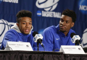 Evans (left) and Ford (right) lead UB into its first NCAA Tournament appearance. (Photo by Joe Maiorana-USA TODAY Sports)