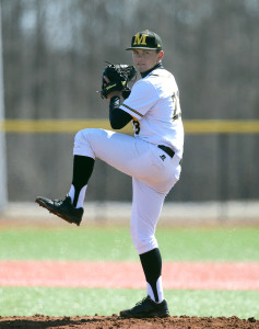 Mastrodonato struck out two and walked two for the win in game one. (Photo courtesy: Monroe CC Athletics)