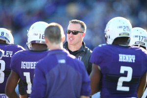 Pat Fitzgerald's Wildcats won five consecutive games to finish the 2015 regular-season at 10-2 and are ranked No. 13 in the current College Football Playoff Rankings. (Photo: Caylor Arnold-USA TODAY Sports)