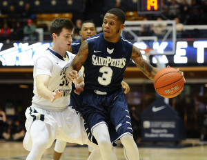 Wyche knocked down a 3-pointer from the right wing with 23 seconds left in regulation time to give Saint Peter's a 57-52 lead. (Photo: Brad Mills-USA TODAY Sports)