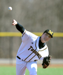 Zach Vennaro hurled a 2-hitter in game one as Monroe CC swept GCC (11-2/5-2). (Photo courtesy of Monroe CC Athletics)