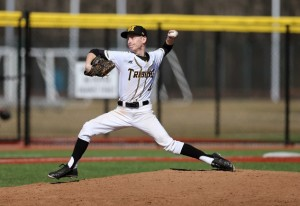 Tyler Riehl improved to 2-0 on the season with a win in game one. (Photo courtesy of Monroe CC Athletics)