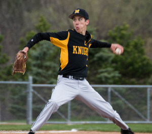 Donnie Moffat (5-3/2.18 ERA/50K) leads reigning champion McQuaid into the sectionals. (Photo by SUE KANE)