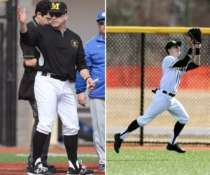 Luke Brust (right) is hitting .338 with 21 extra-base hits including three home runs.