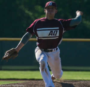 Tournament MVP Max Swartz pitched a complete game as Aquinas defeated Batavia, 2-1 to claim the Section V A2 championship. (Photo: SUE KANE)