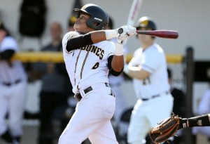 Connor Lewis went 4-for-5 with six RBI in the game two win. (Photo courtesy of Monroe CC Athletics)
