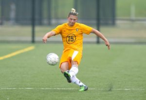 Julian MacDonald netted the eventual game winner from 25 yards away in Monroe's 7-1 victory over St. John Fisher JV. (Photo courtesy of Monroe CC Athletics)