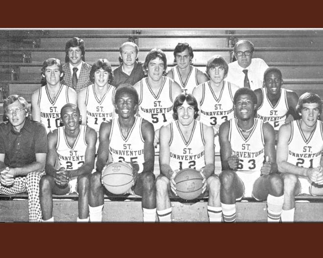St. Bonaventure captured the NIT title in March of 1977 at Madison Square Garden, topping Houston, 94-91. Sanders scored 40 points and was named the Most Valuable Player of the NIT. The Bonnies defeated Villanova in the semifinals, 86-82, after getting by Rutgers and Oregon before that. (Photo courtesy of St. Bonaventure Athletics)