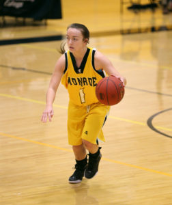 Abby White handed out 11 assists as the MCC Lady Tribunes defeated FLCC, 94-53 in Region 3 action Tuesday night. (Photo courtesy of Monroe CC Athletics)