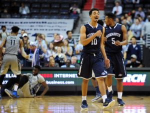 Micah Seaborn (10) converted a three-point play with 7.5 seconds remaining which proved the difference as Monmouth rallied to beat Holy Cross. (Photo: Evan Habeeb-USA TODAY Sports)