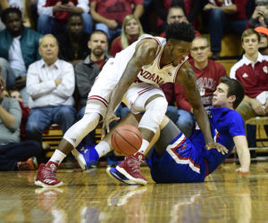 Indiana Hoosiers forward De'Ron Davis (20) attempts to control the ball against Massachusetts River Hawks forward Cameron Wolter (44) during the second half at Assembly Hall.  The Indiana Hoosiers defeated the Massachusetts River Hawks 100-77.  (Photo: Marc Lebryk-USA TODAY Sports)