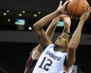 Denzel Gregg recorded his second career double-double with 12 points and 10 rebounds. (Photo courtesy of St. Bonaventure  Athletics)