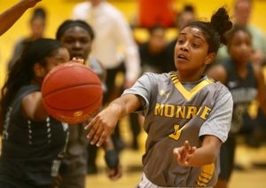 MCC's Lady Tribunes finished with 20 assists on 27 made field goals in defeating ASA College, 79-46 in the finals of the 24th annual Pete Pavia Memorial Scholarship Tournament. (Photo courtesy of Monroe CC Athletics)
