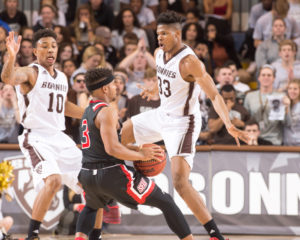 Josh Ayeni (33) finished with 10 points and five rebounds in 25 minutes of work. (Photo courtesy of St. Bonaventure Athletics).