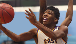 Zion Morrison scored a game-high 25 points as East High held off Niagara Falls in the third annual Bishop Kearney Christmas Showcase. (Photo: Ron Kalasinkas)
