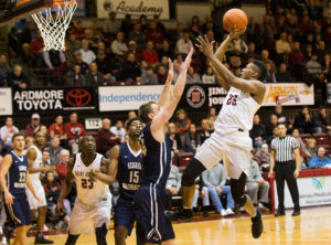 Saint Joseph's Hawks forward James Demery (25) shoots against George Washington Colonials forward Tyler Cavanaugh (34) during the second half at Michael J. Hagan Arena. The Saint Joseph's Hawks won 68-63. (Photo: Bill Streicher-USA TODAY Sports)
