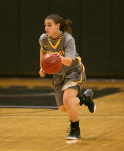 Erica Abitante scored 10 of her 16 points in the first quarter as the Monroe CC Lady Tribunes jumped to a 39-2 lead in the first quarter. (Photo courtesy of Monroe CC Athletics)