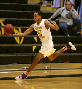 Kewan Platt finished with 15 points and game-high 10 rebounds, and the Monroe Community College Tribunes rallied for a 83-73 victory over the Mercyhurst NE Saints. (Photo courtesy of Monroe CC Athletics)
