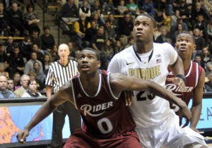 Kahlil Thomas (0) posted a double-double for Rider with 17 points and 13 boards (Photo: Sandra Dukes-USA TODAY Sports)