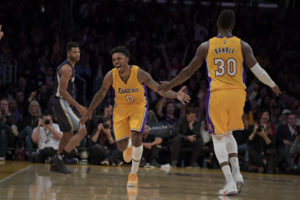 Nick Young (0) and Julius Randle (30)  celebrate during the Lakers victory. (Photo: Kirby Lee-USA TODAY Sports)