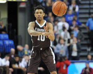 Jaylen Adams tied a school record with 14 assists and scored 13 points. He had sat out the past two games with an ankle injury. (Photo courtesy of St. Bonaventure Athletics)