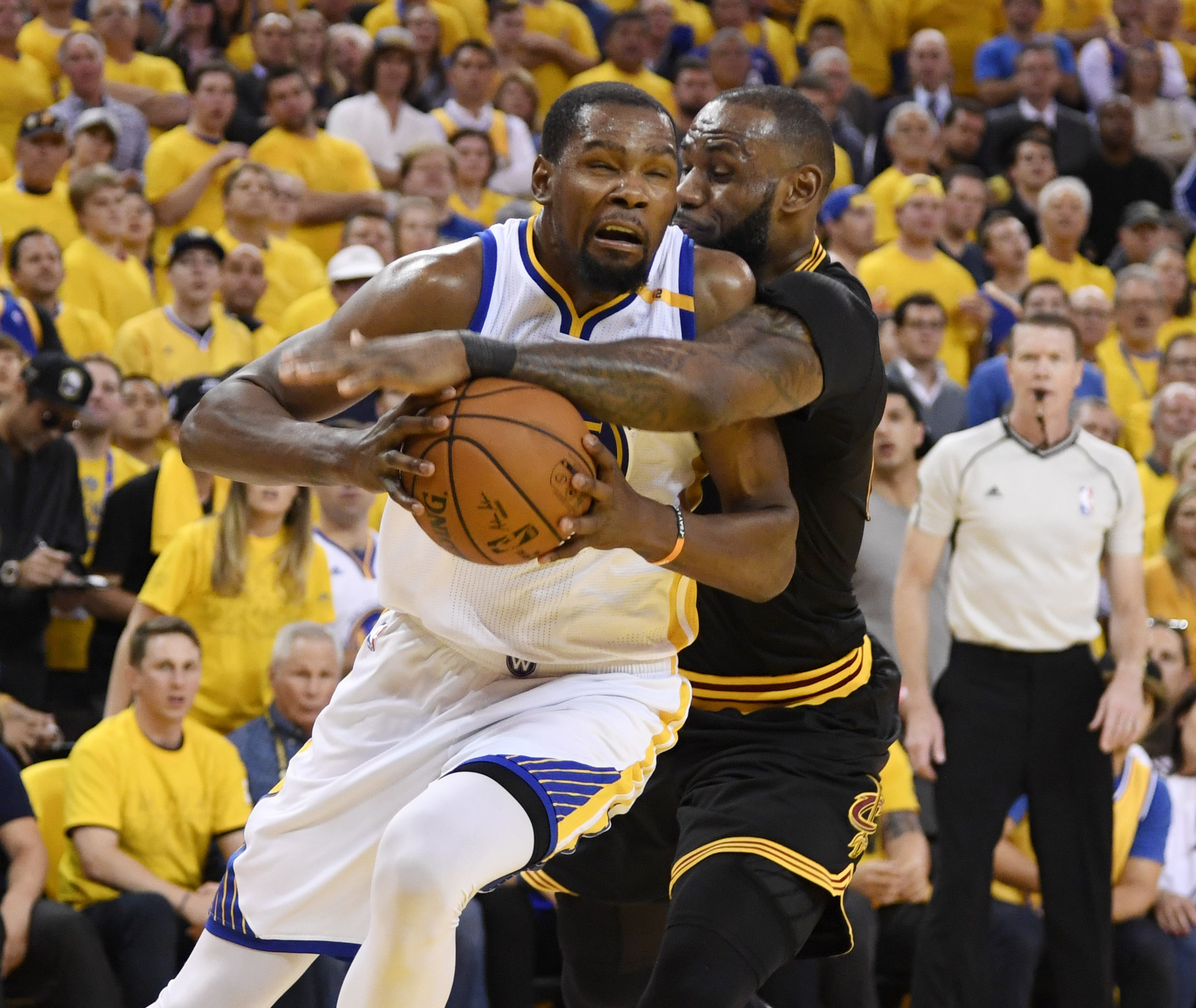 sports shoes 33079 6d341 Kevin Durant (35) is defended by LeBron James (23) during the first half in game  five of the 2017 NBA Finals at Oracle Arena. (Photo  Kyle Terada-USA TODAY  ...