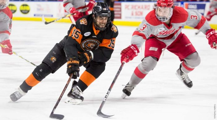 RIT Men's hockey evens Atlantic Hockey Quarterfinal series with 7-3 win in game two