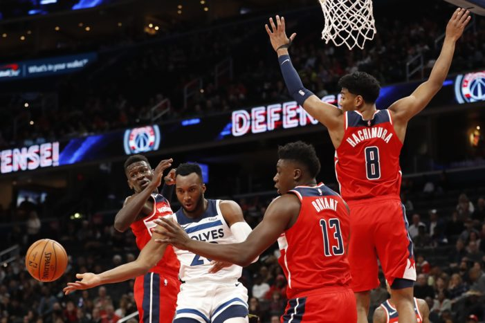 Thomas Bryant struggles for 1st time this season as Wizards fall to Minnesota