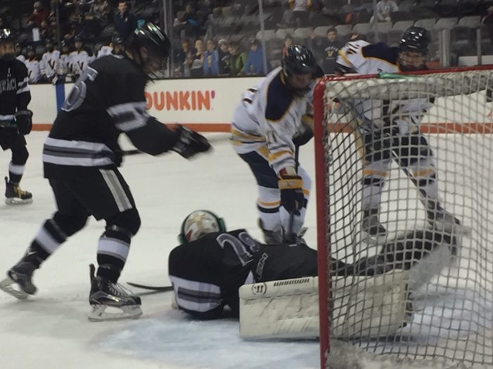 McCandless hat trick powers Victor to state hockey semifinals