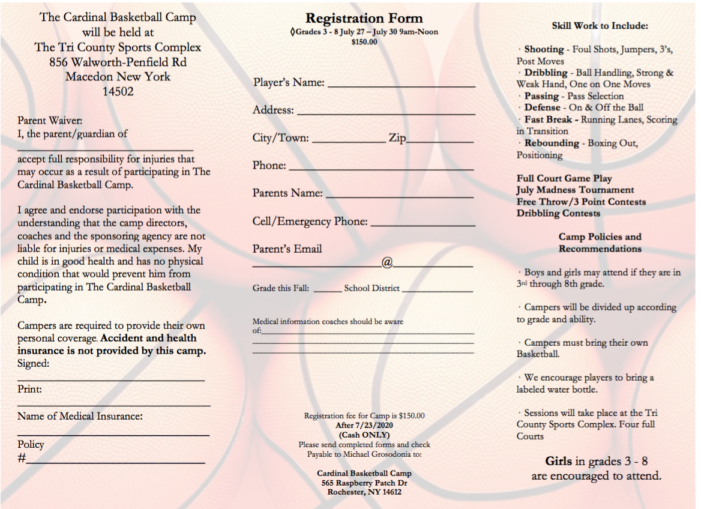 Cardinal basketball camp set for late July