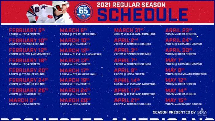 Amerks announce 2020-21 regular season schedule