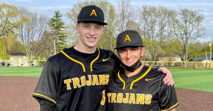 Saucke, Alongi combine on no-hitter; Athena takes opener